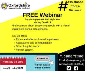 Assistance from a Distance. Poster promoting free webinar