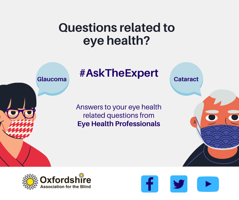 Graphic with text, Questions related to eye health, ask teh expert. two people with speech bubbles saying Glaucoma? Cataracts?