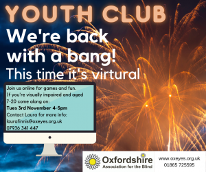 Youth Club poster with fireworks